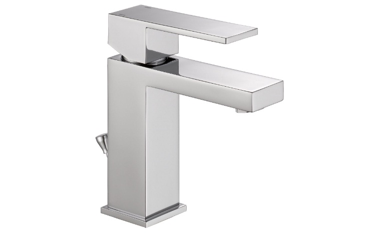 delta faucet modern single-handle bathroom faucet with drain assembly